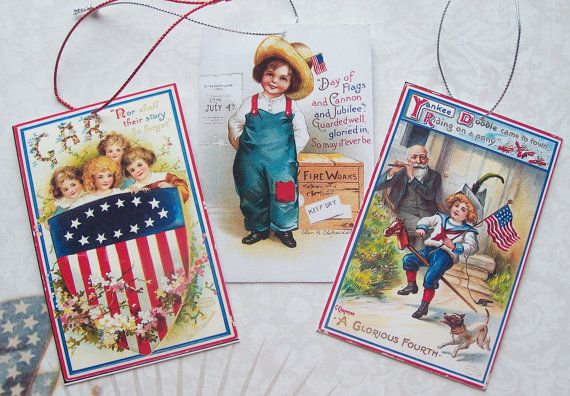 Patriotic 4th of July Gift Tags Ornaments by BrendaAlanegifts, $5.00