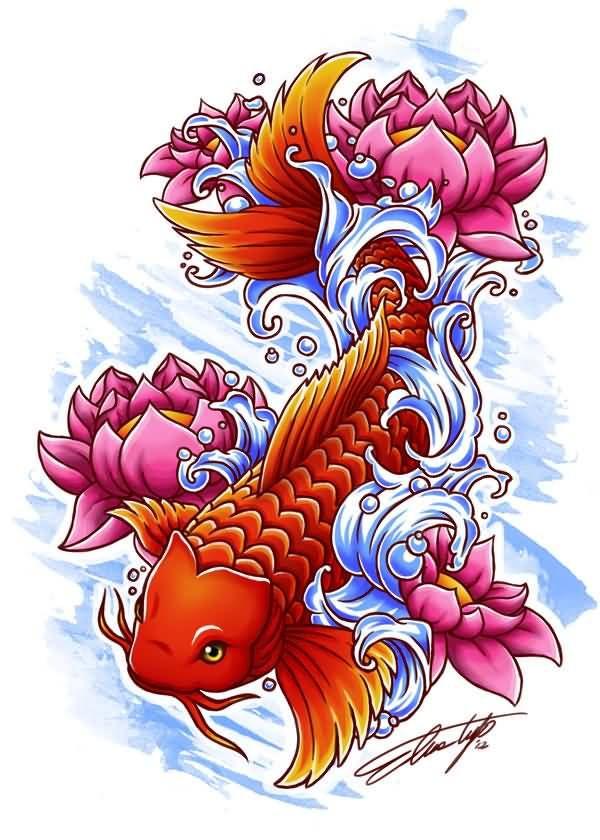 Lotus flower koi fish orange color tattoo 600 for Koi fish games