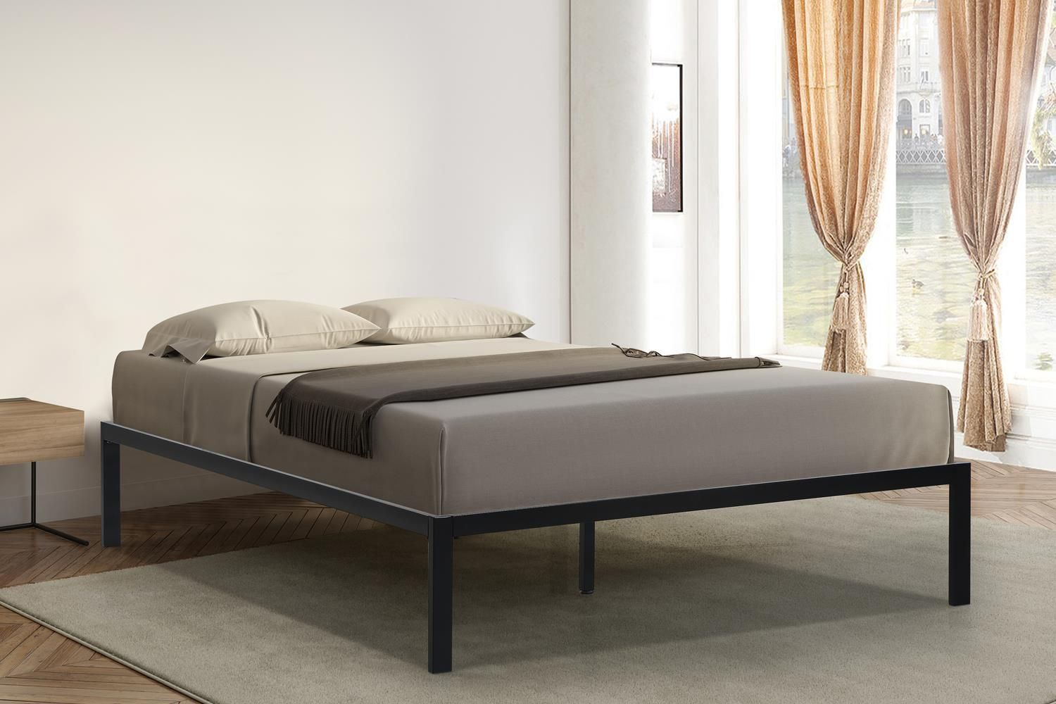 Oliver Smith® Heavy Duty Black Iron Metal Platform Bed
