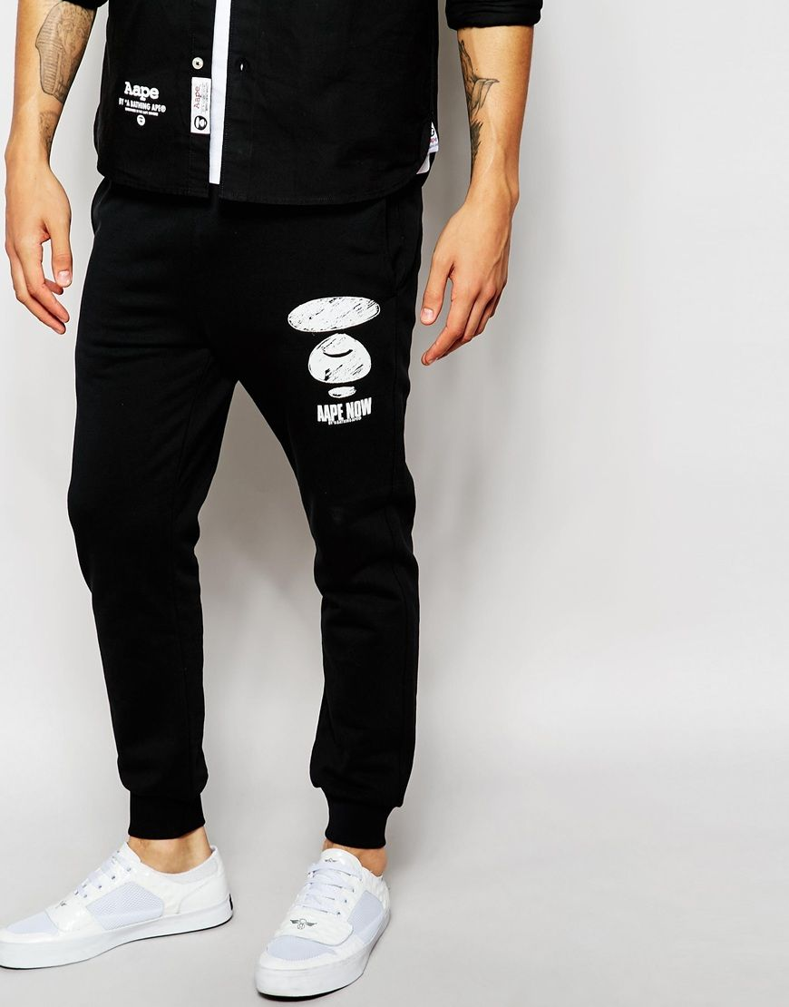 03440c25c Pin this AAPE By A Bathing Ape Joggers With AAPE Badge Print - Black - http