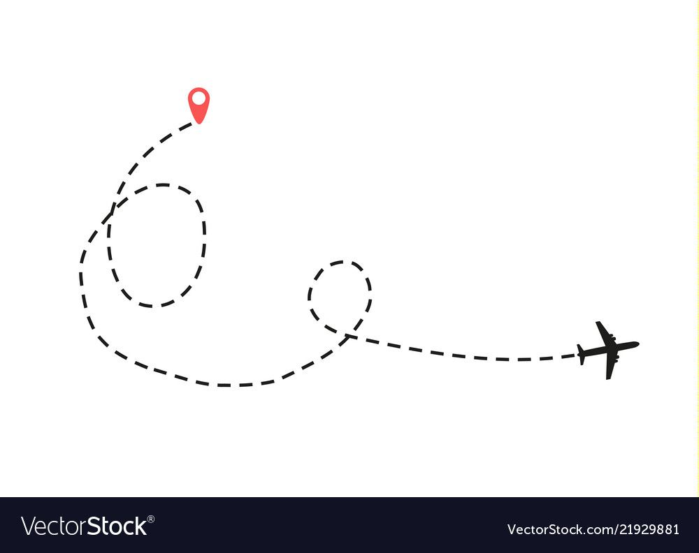 Airplane Is In A Dotted Line Royalty Free Vector Image Airplane Drawing Line Drawing Airplane Vector