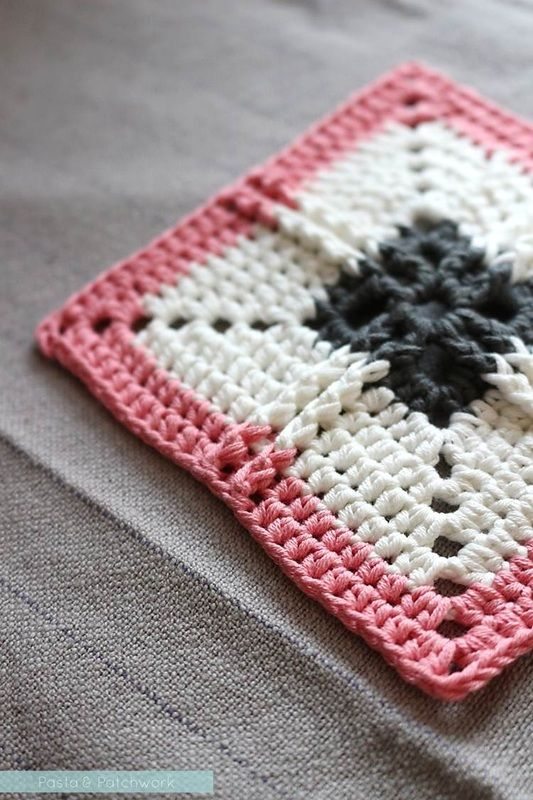Ribbed Cross Granny Square - PLEASE NOTE: Written in UK terms (with ...