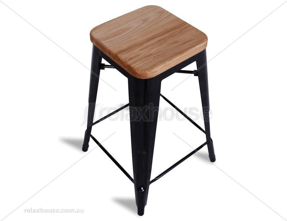 Tolix Stool Premium Replica 65cm Powder Coated Stool Teak Timber Wood Seat Xavier Pauchard - Black  sc 1 st  Pinterest & Tolix Stool Premium Replica 65cm Powder Coated Stool Teak Timber ... islam-shia.org