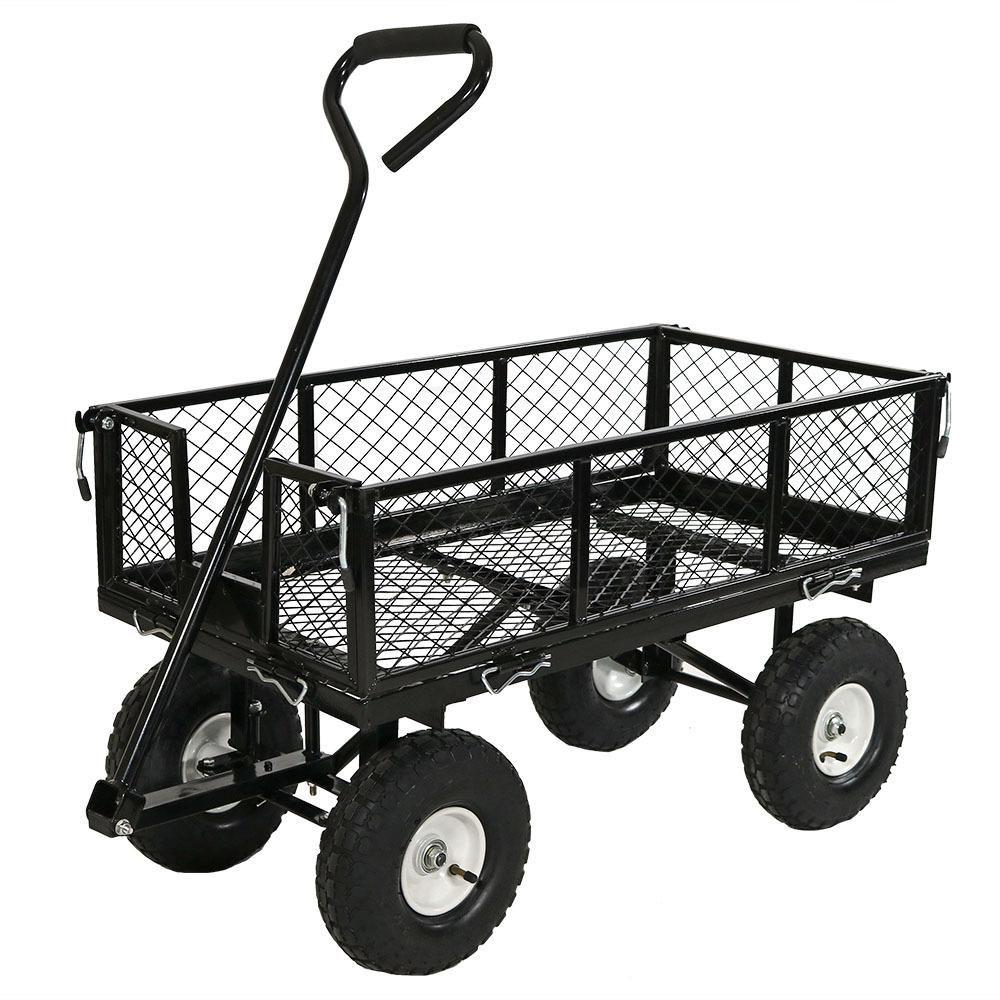 Sunnydaze Decor Black Steel Utility Cart with Removable Folding
