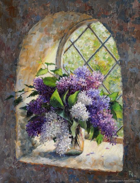 Lilac in window. Two thousand eighteen. Oil painting – заказать на Ярмарке Мастеров – FP531COM | Картины, Moscow