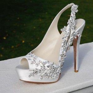 480a0a5c8fc White Satin Slingback Bridal Heels Rhinestone Peep Toe Platform ...