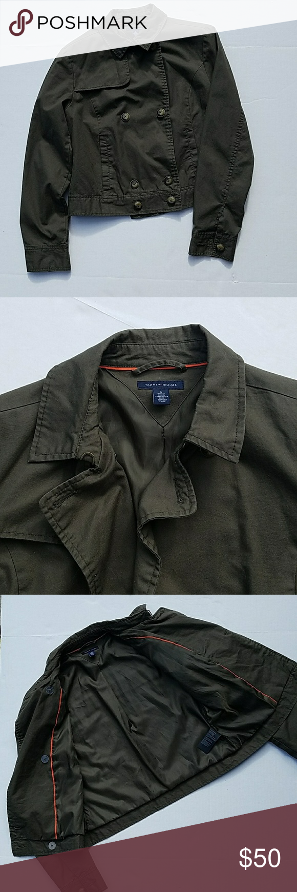 Tommy Hilfiger cropped trench/military style jacke Greenish brown cropped jacket by Tommy Hilfiger. Quality piece. Fully lined.  Doubke breasted. Size 6. EUC. I'm not sure I have even worn this. Tommy Hilfiger Jackets & Coats Utility Jackets