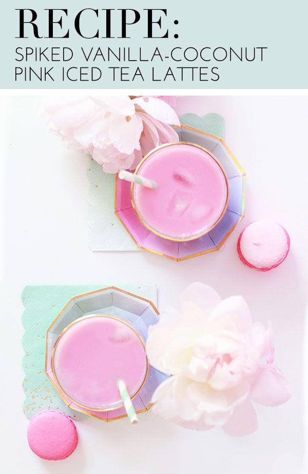 Spiked Vanilla-Coconut Pink Iced Tea Latte