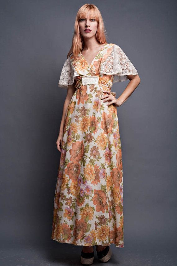 62853723cf Vintage 70s Maxi Dress Boho Hippie Flowy Floral Lace Cape Butterfly Sleeves  Empire Crochet Doily Plu