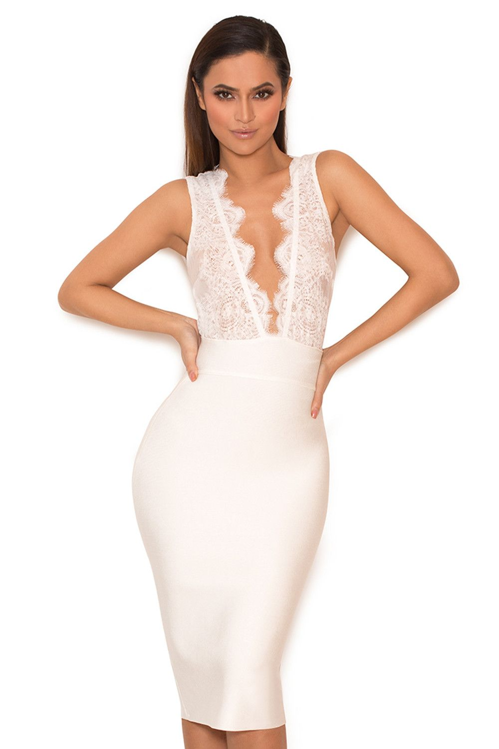 3b01bbe6cf Clothing   Bandage Dresses    Ria  White Lace and Bandage Deep V Dress.