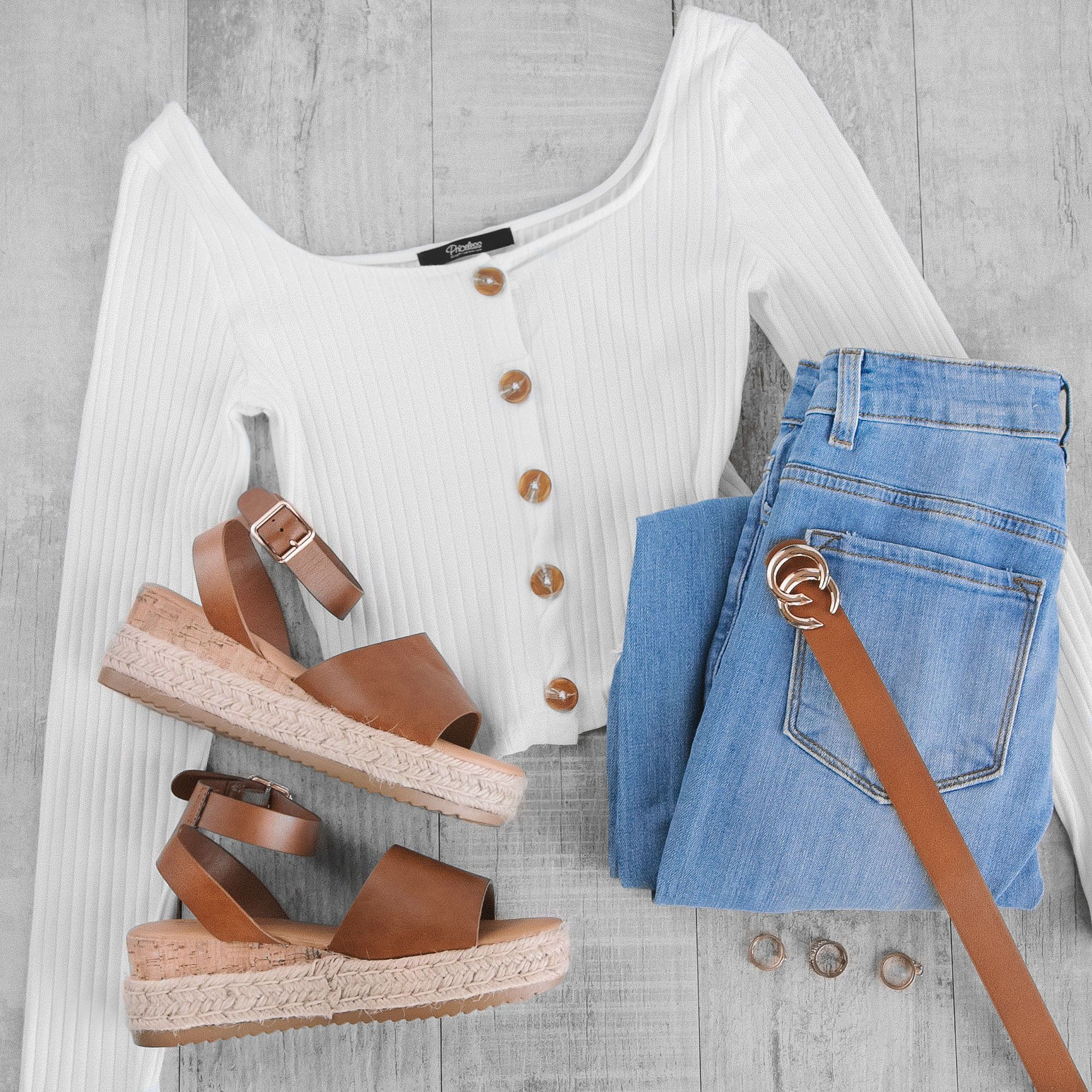 33353f89093b The Manda White Button Off The Shoulder #CropTop isn't just basic, but  she's sure to step up any #OOTD! #ShopPriceless #WomensFashion