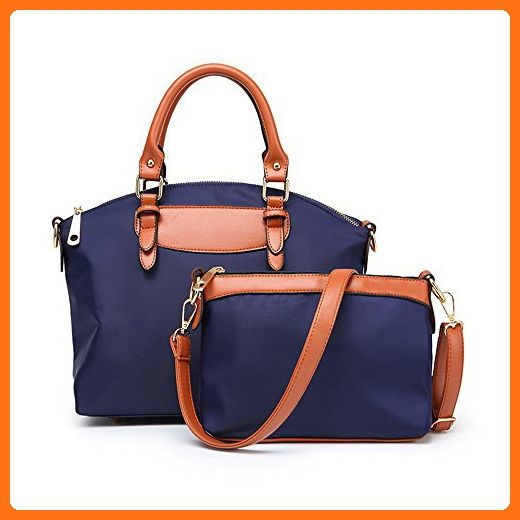 e0b426ca30e5 Mn Sue Summer Vacation Stylish Women s Waterproof Oxford Fabric 2pcs Top  Handle Handbag Set Bag In Bag (Navy Blue) - Satchels ( Amazon Partner-Link)