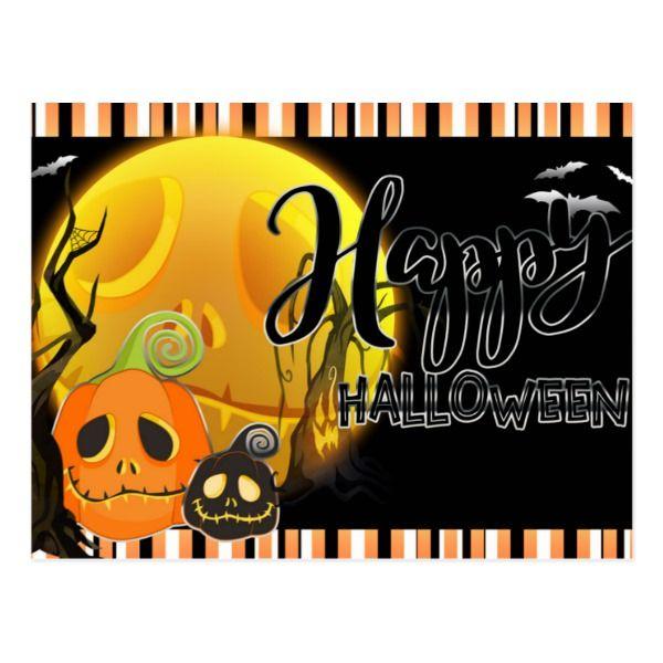 Happy Halloween Whimsical Smile Pumpkins Greeting Postcard