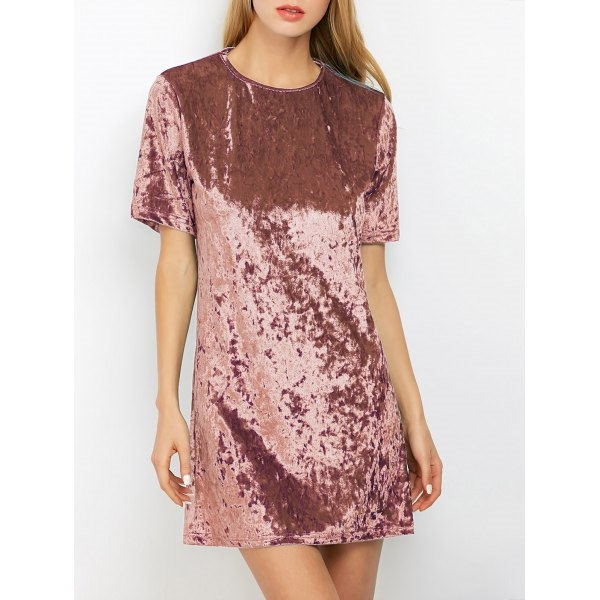 15.15$  Watch here - http://di6pz.justgood.pw/go.php?t=206016811 - Mini Crushed Velvet Tunic Straight Dress 15.15$