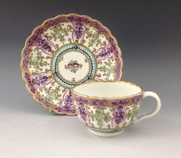 Worcester porcelain cup and saucer 'Hop Trellis' pattern.