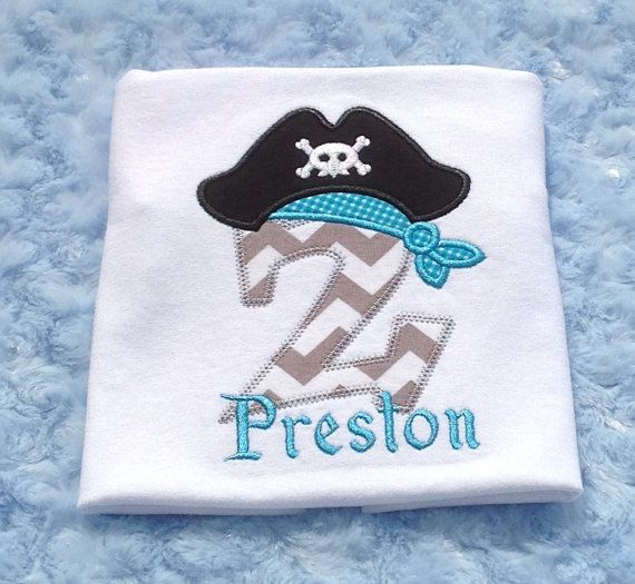 Boys Applique Birthday Pirate Number Pirate Hat by BUniqueDeZigns, $18.50