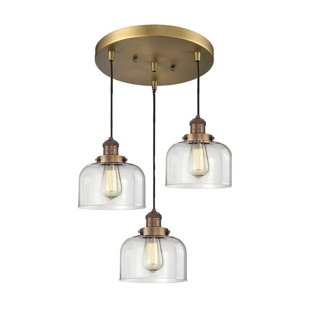 Pendant Lights At Lowes Custom Shop Innovations Lighting 2113 Large Glass Bell 3 Light Pan