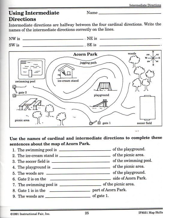 free printable grid map worksheets free elementary worksheets the intermediate directions