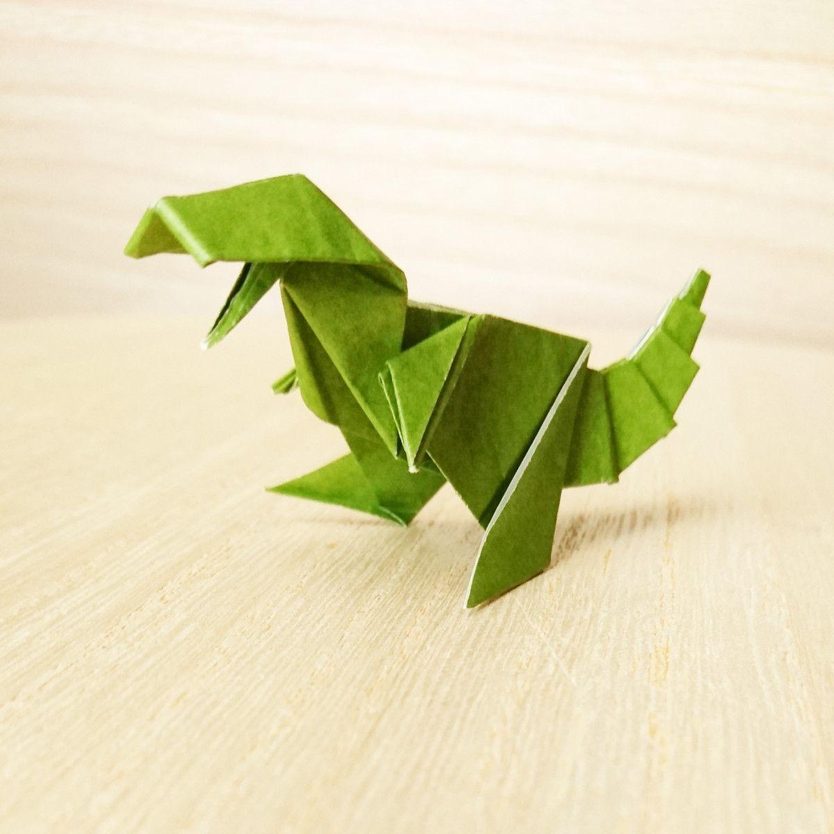 折り紙1枚でトライ 迫力の 立体的な恐竜 の作り方 画像あり