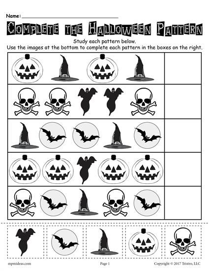 Printable Halloween Pattern Worksheet Halloween Kindergarten Pattern Worksheet Halloween Worksheets