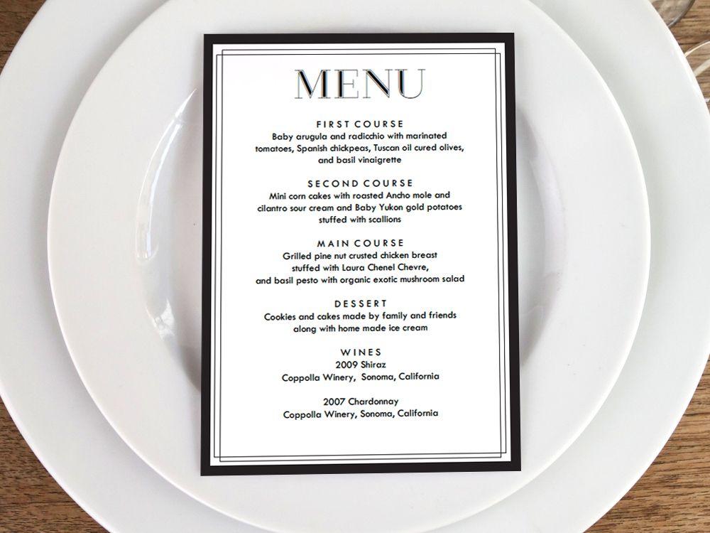 Printable Menu - Classic Black and White Menu cards, Menu card - sample wine menu template