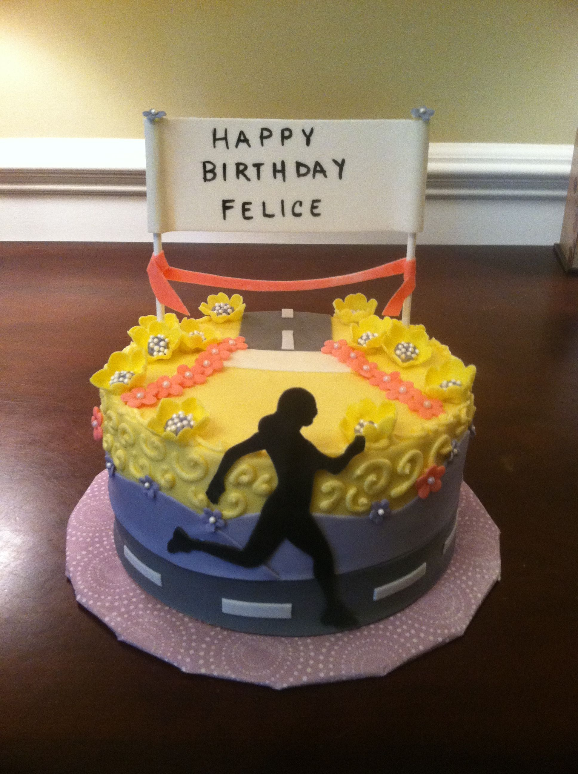 Birthday Cake Pictures For Runners : Running themed cake my cakes Pinterest Themed cakes ...