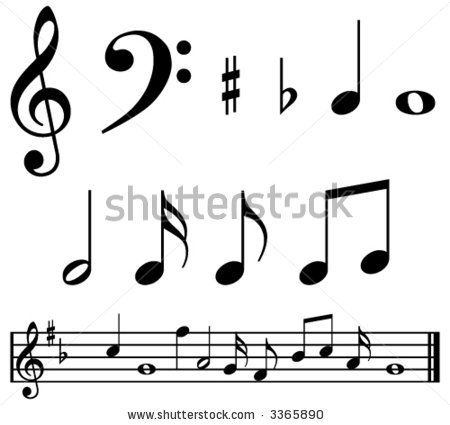 Music Notes And Symbols With Sample Music Bar By Mike Mcdonald