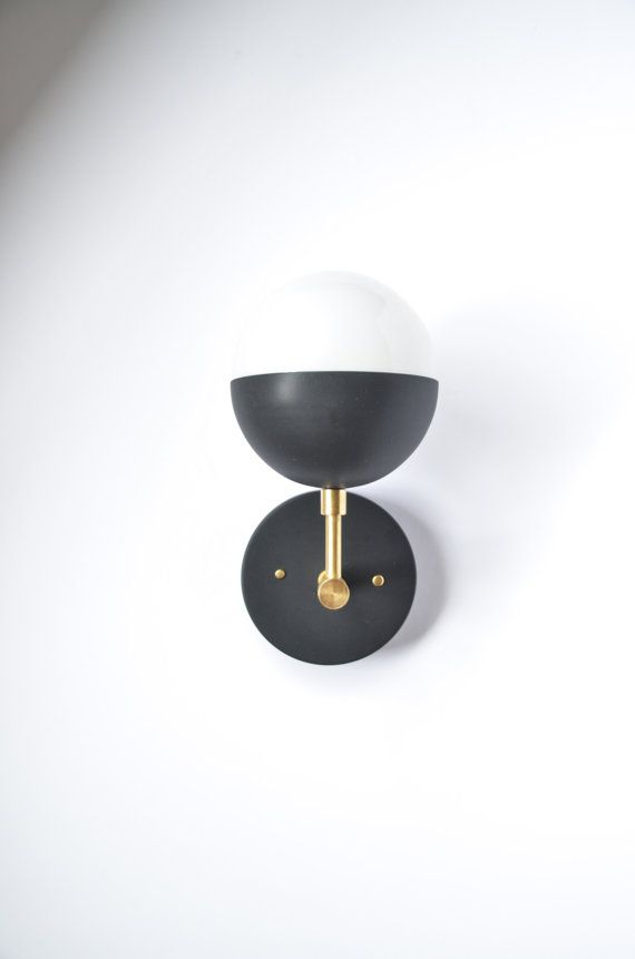 Bathroom Sconces Facing Up Or Down myrtle modern brass & black wall sconcetriplesevenhome
