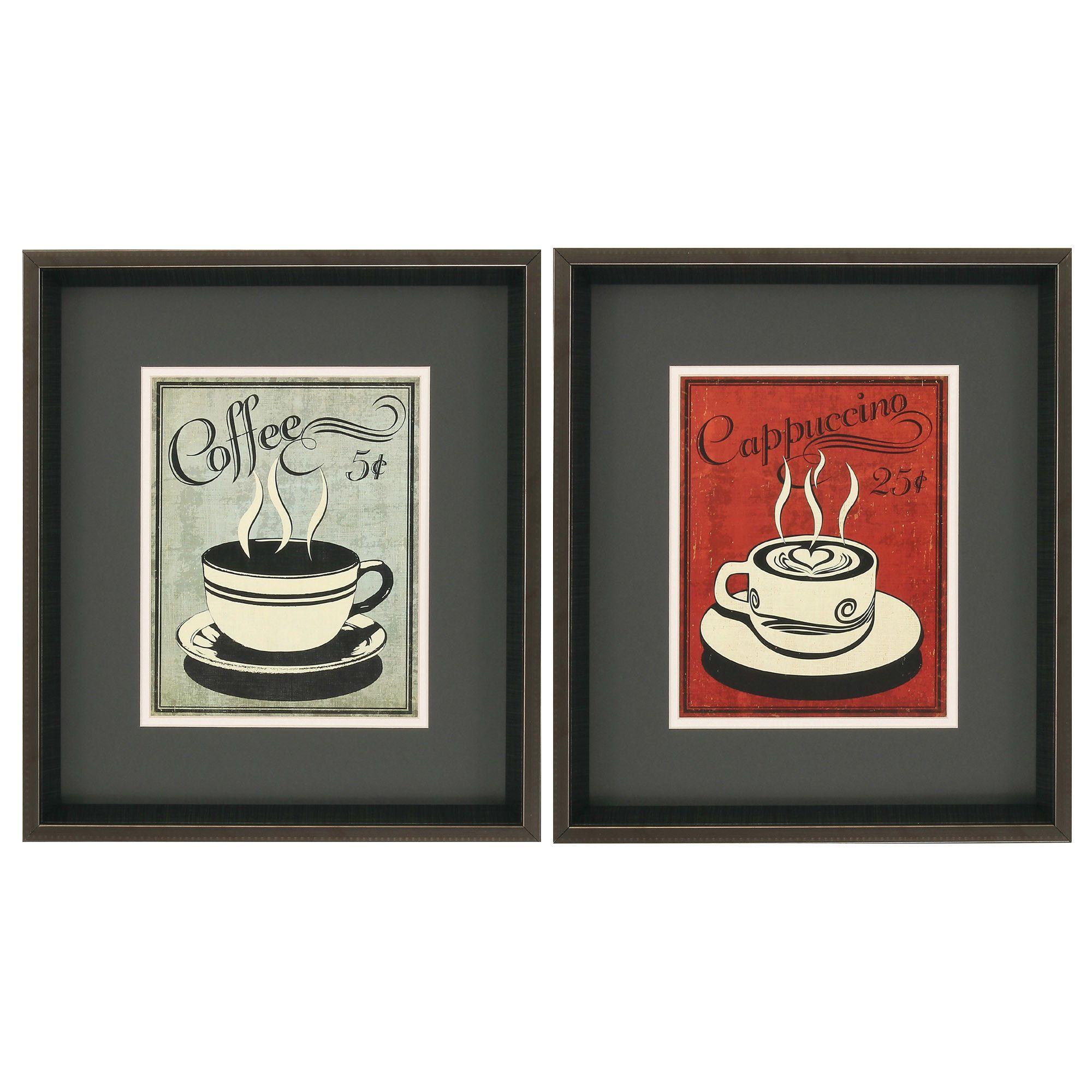 Retro Coffee I/III 2 Piece Framed Painting Print Set