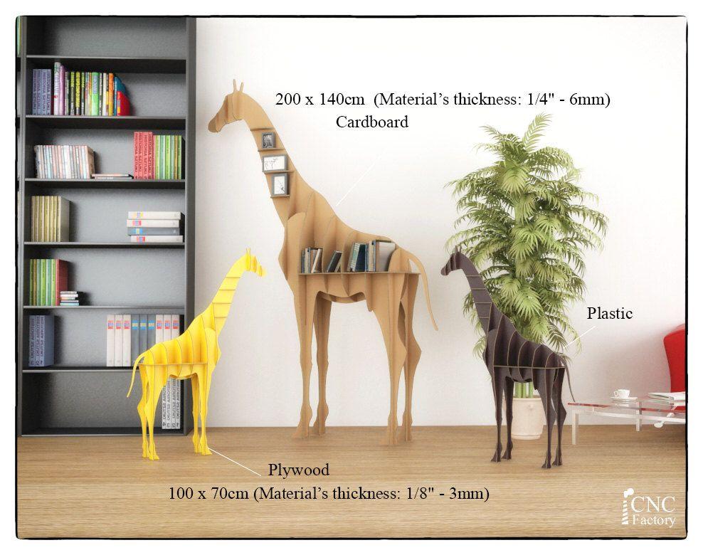 GIRAFFE BOOK SHELF - Cnc plans cutting file book shelf - svg cut - griffe für küche