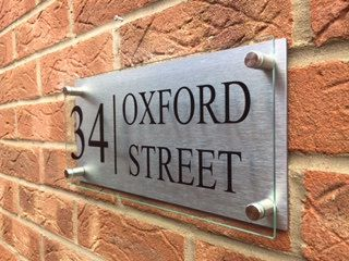 modern house sign plaque door number glass acrylic aluminium street