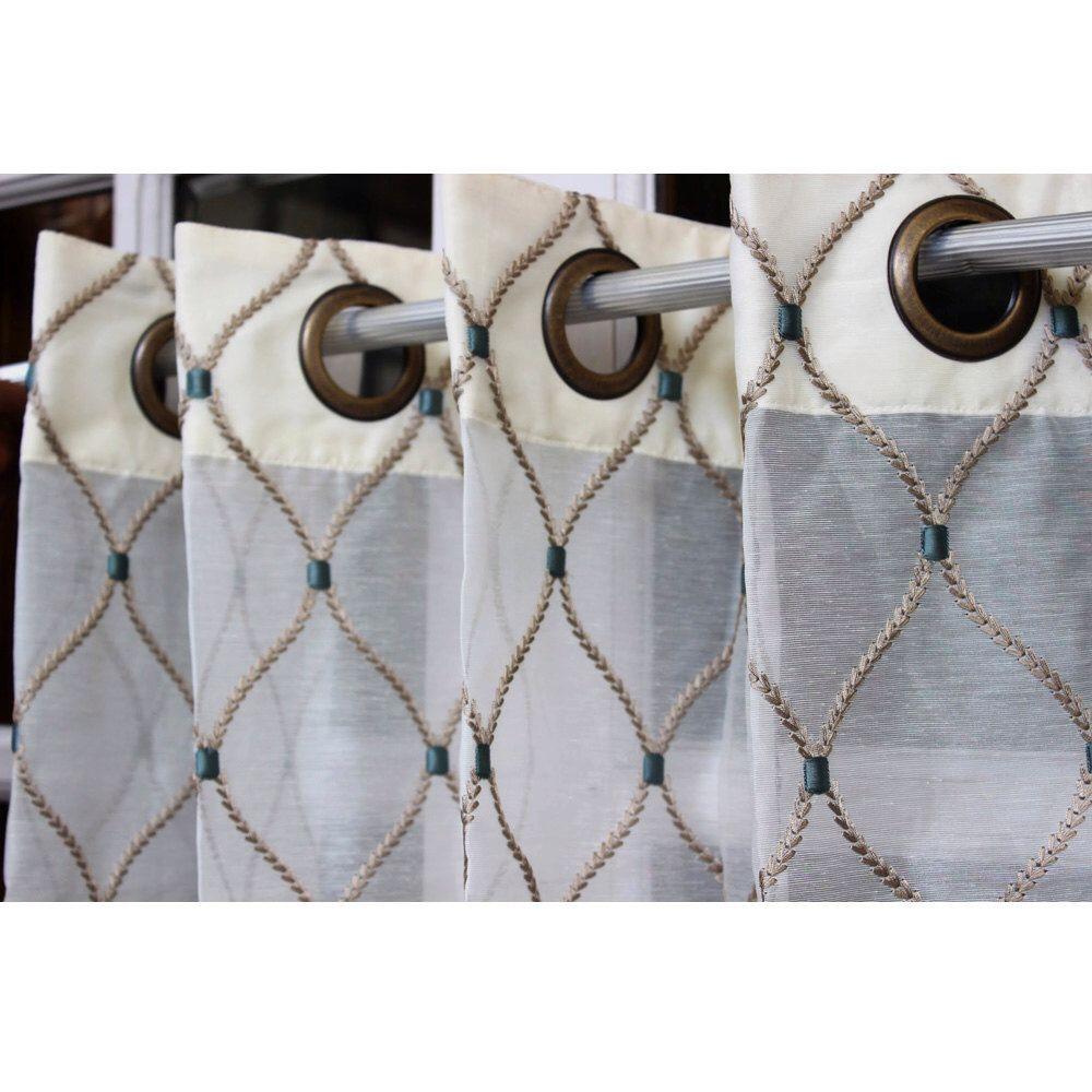 Geometric Diamonds Stitch Embroidery Sheer Curtain Panels 52