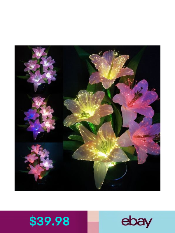 LED Color Changing Lily Flower Potted Fiber Optic Lamp Home Party Wedding Decor