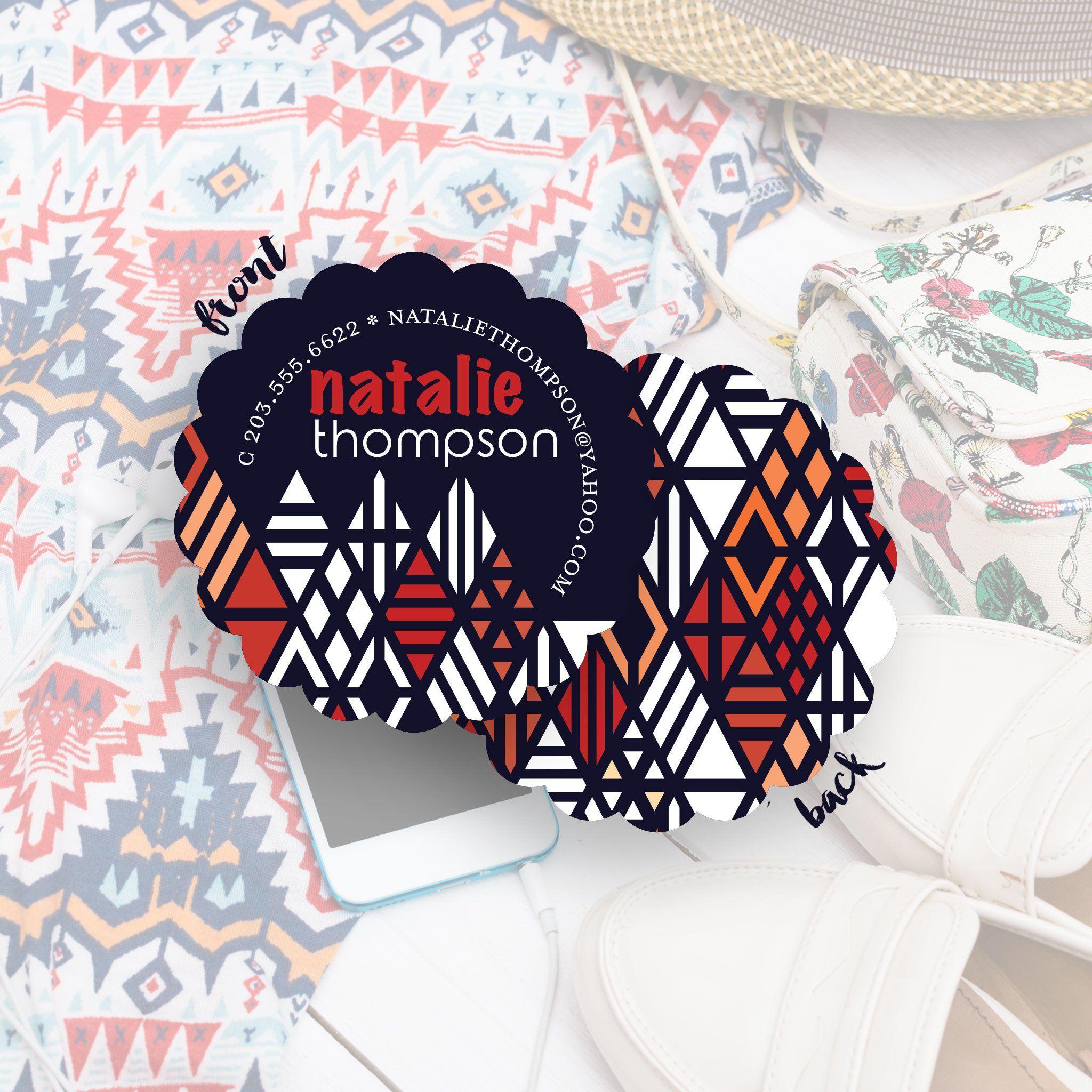 Natalie 21st geometric business card ideas business card ideas circular business cards colourmoves Choice Image