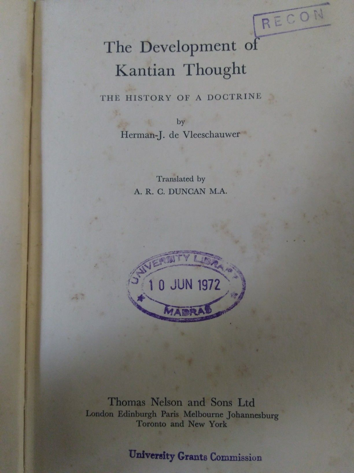 Kantian Thought Arc Duncan Thoughts Thomas Nelson York University