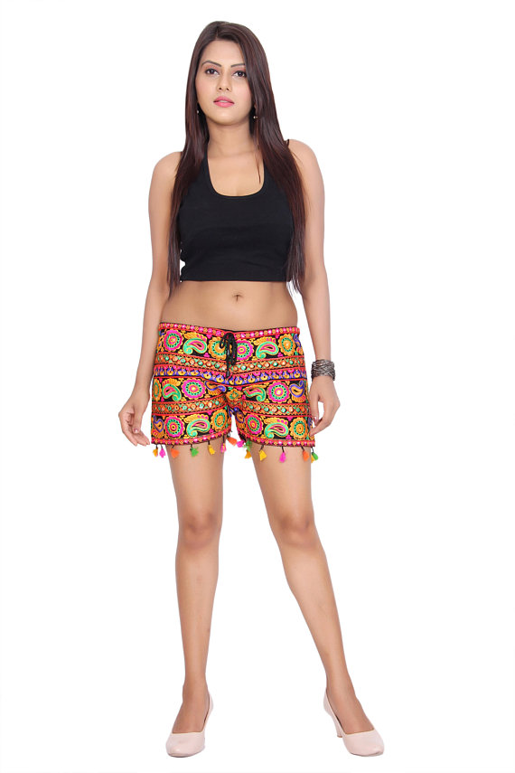 15227d93e22 Shorts Half Pant Girl s Short s Embroidery Designs Ethnic Hot and ...