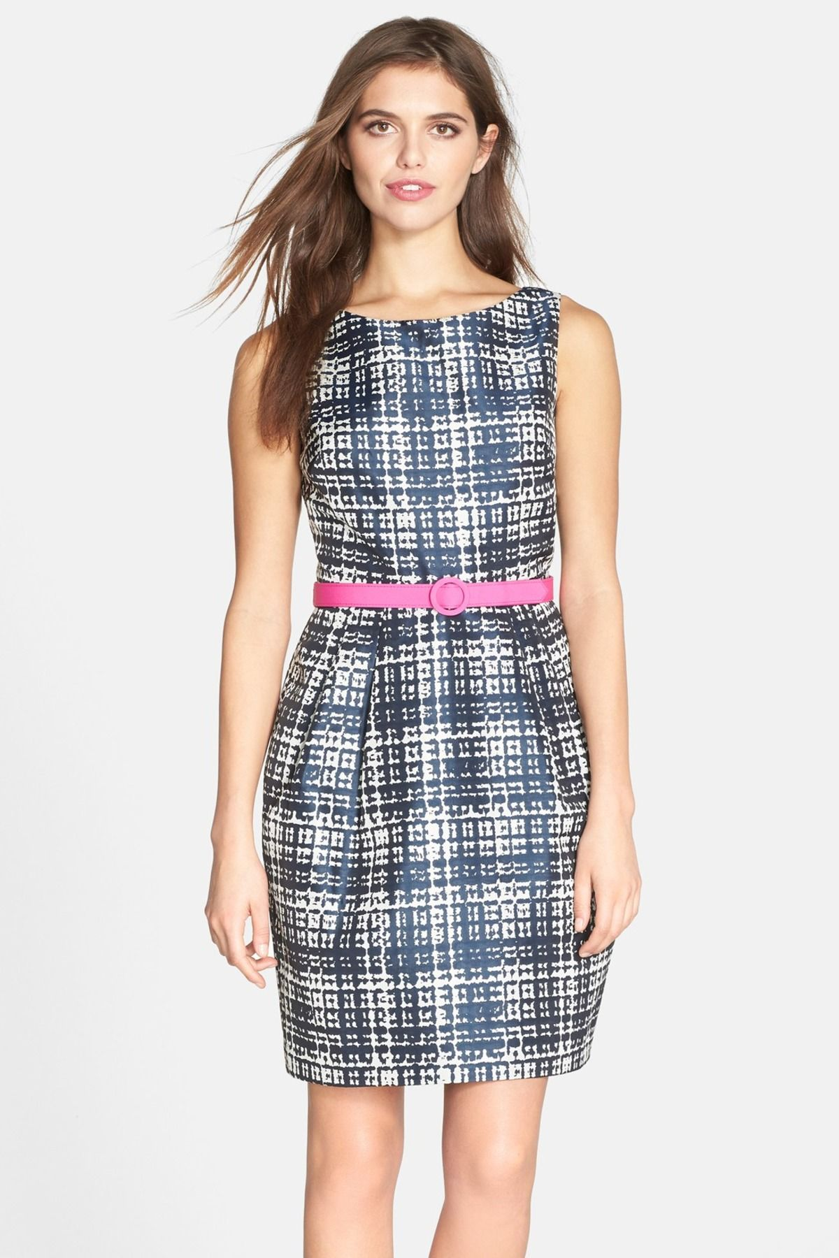 Eliza j belted print faille sleeveless tulip dress nordstrom