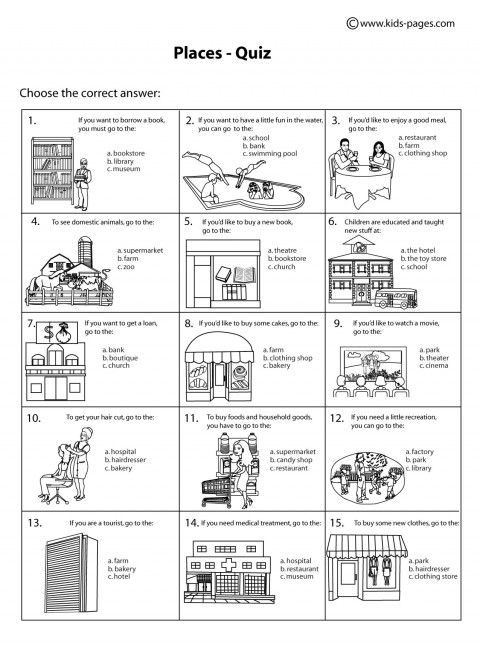 Places Quiz B W Worksheet Teaching Vocabulary Critical Thinking Activities English Lessons