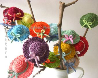Crocheted Tulip Flower Pattern | Crochet Mini Hat Pattern Christmas Decor Applique DIY PDF Garden ...