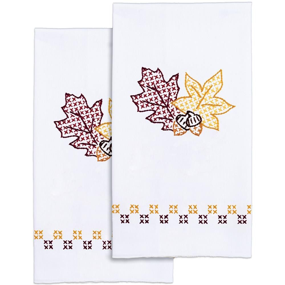 "Stamped White Decorative Hand Towel Pair 17""X28""-Leaves"