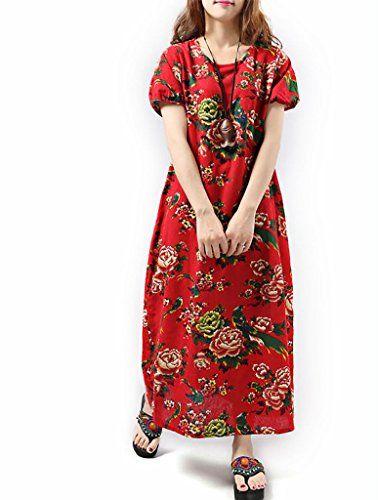 ShowLife Women's Casual Loose Short Sleeve Cotton Dress Large Size Linen Maxi Dress ShowLife http://www.amazon.com/dp/B01231E0LI/ref=cm_sw_r_pi_dp_sLxTvb0T2KHKV