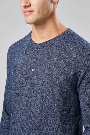 Buy Navy Long Sleeve Textured Grandad from Next Israel