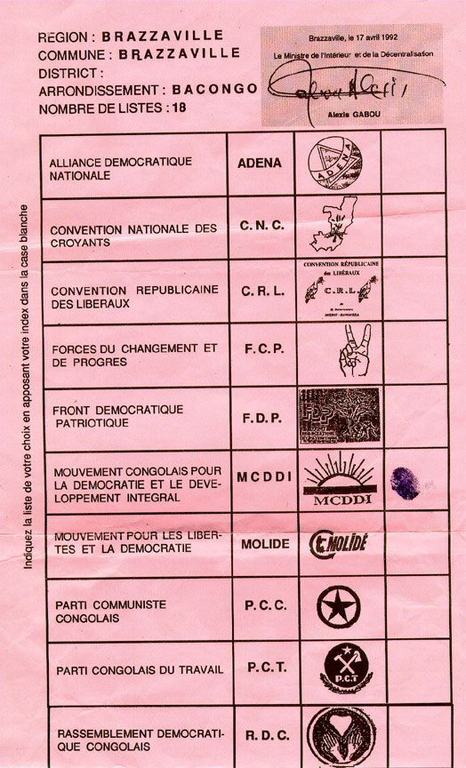 Sample Ballot From Congo (Brazzaville)