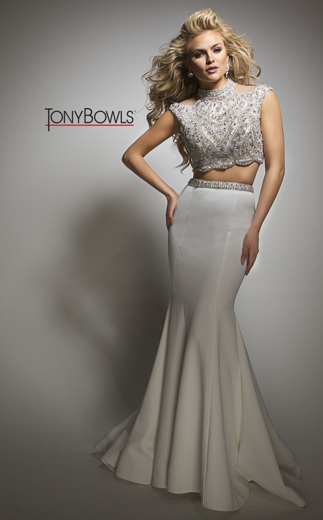 Tony Bowls White Beaded Gown | Products | Pinterest | Tony bowls ...