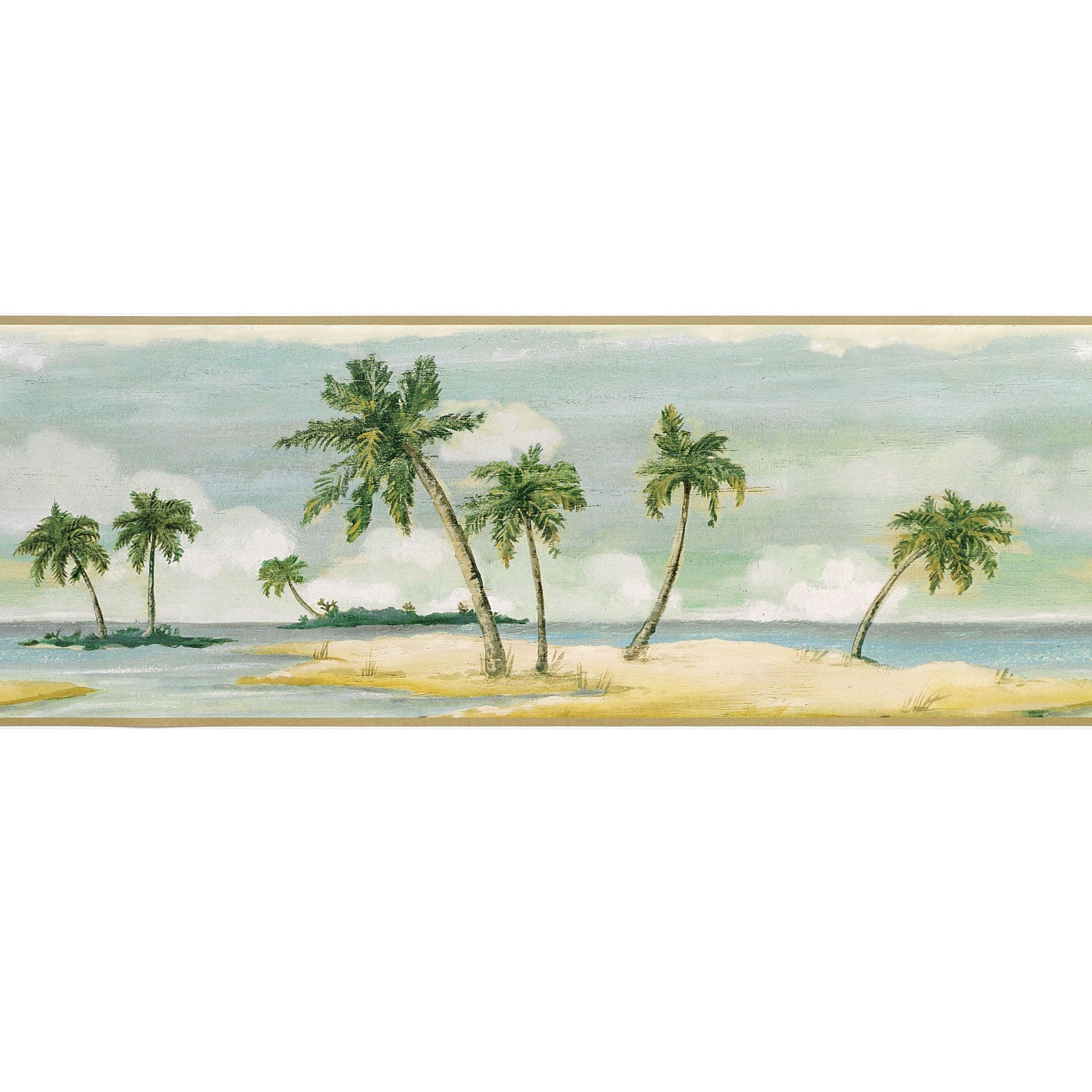 "Home > Tranquil Islands Palm Tree Wallpaper Border"" title"
