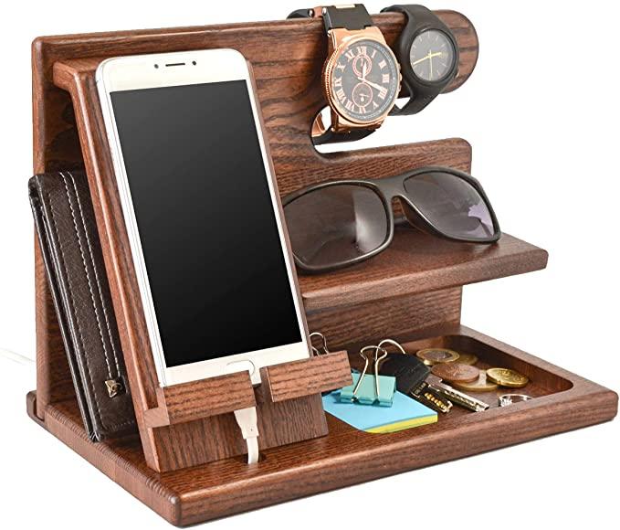 Wood Phone Docking Station Ash Key Holder