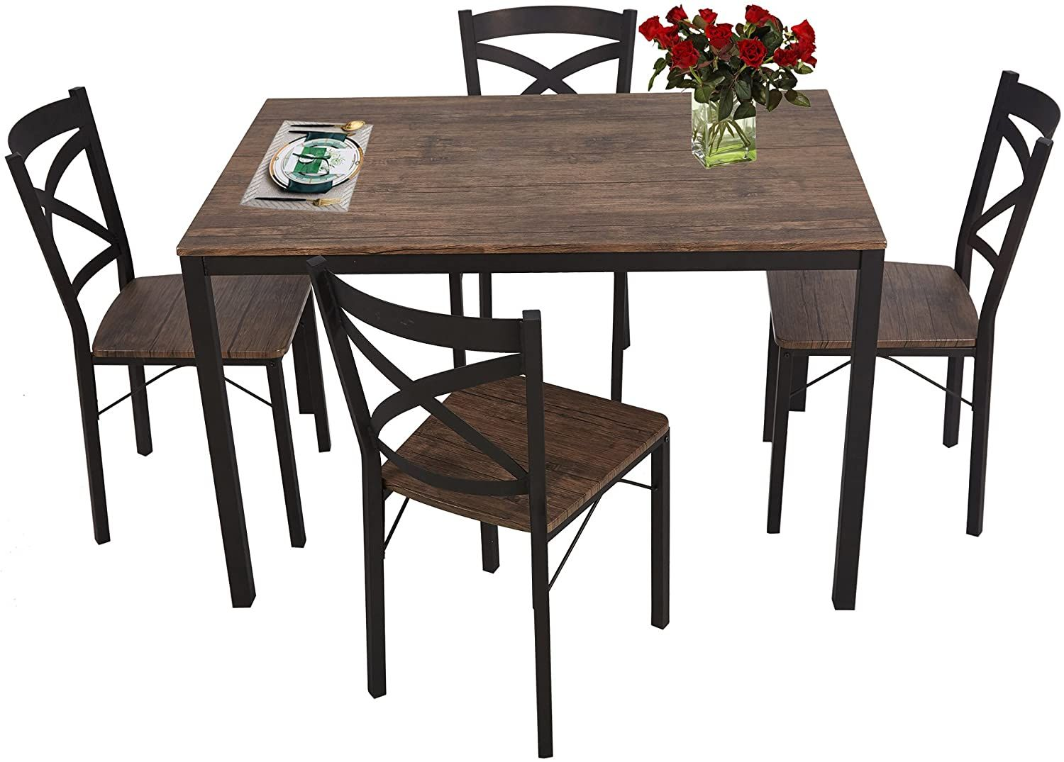 Luckyermore 5 Piece Dining Table Set For 4 Chairs Wood And Metal Kitchen Table Modern And Sleek Dining Table Setting Dining Table Wood Dining Table