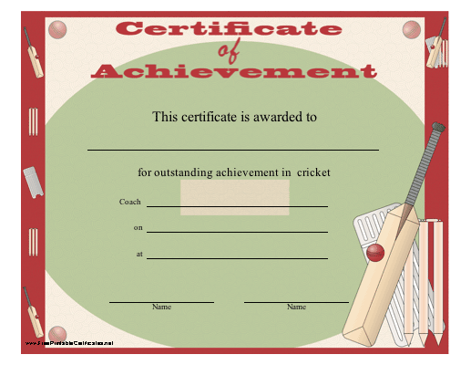 A certificate of achievement for cricket players or teams featuring a certificate of achievement for cricket players or teams featuring graphics of a cricket bat and other gear free to download and print yelopaper Choice Image