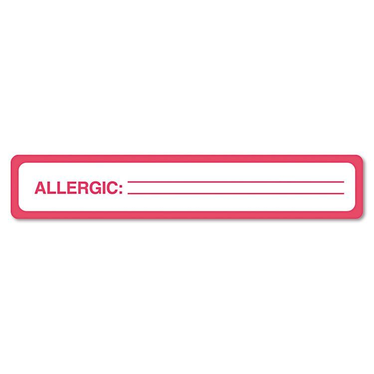 Medical Labels For Allergy Warnings, 1 X 5-1/2, White, 175/roll