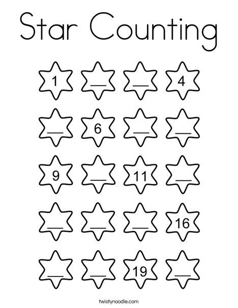 Star Counting Coloring Page - Twisty Noodle | Matematik ...